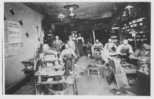 Hyer Boot Co. sewing room, 1895